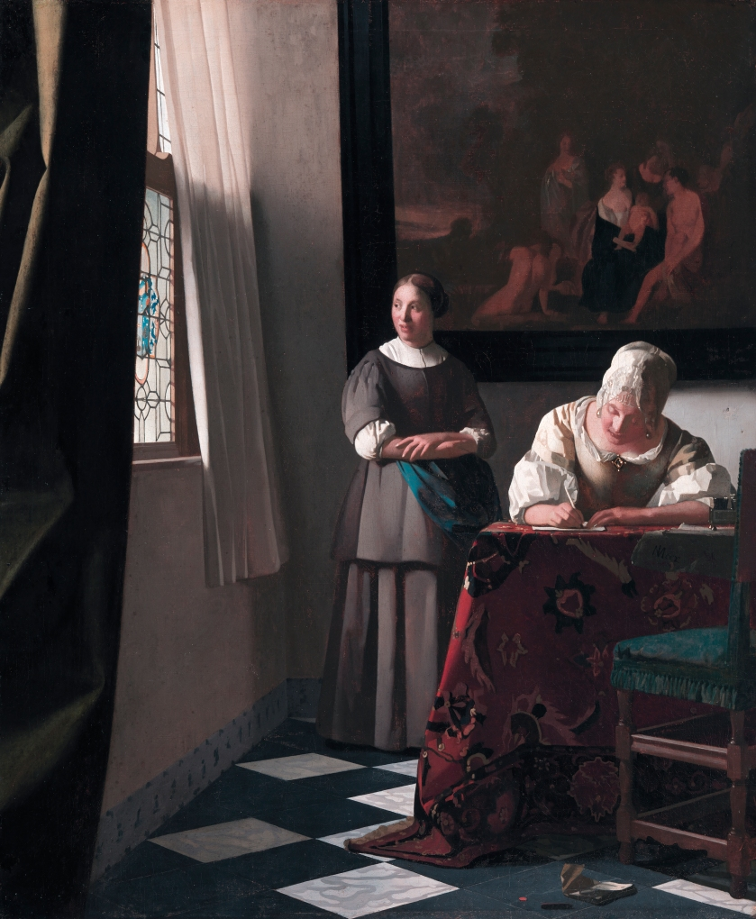 Writing woman a letter, with her maid, by Johannes Vermeer